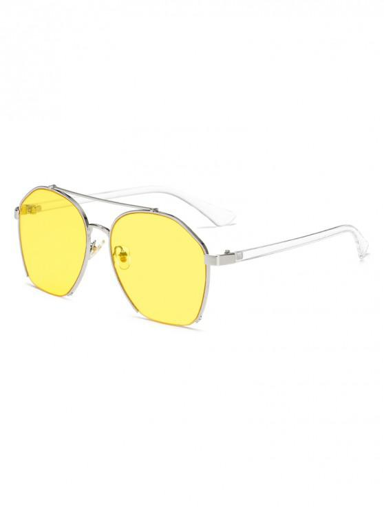 womens Metal Irregular Frame Polarized Sunglasses - YELLOW