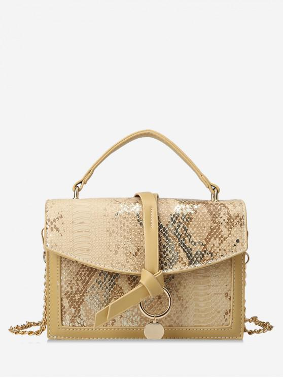 outfits Snakeskin Embossed Sequined Top Handle Crossbody Bag - YELLOW