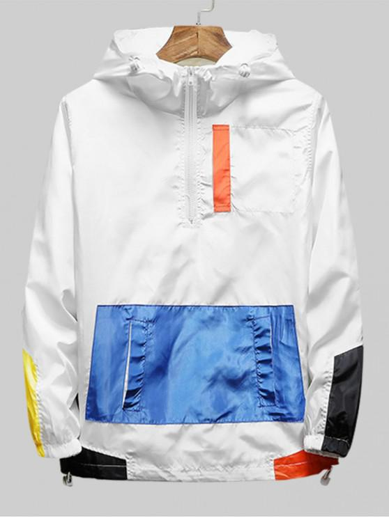 Color de la camisa empalmado cremallera decorado con capucha - Blanco XL