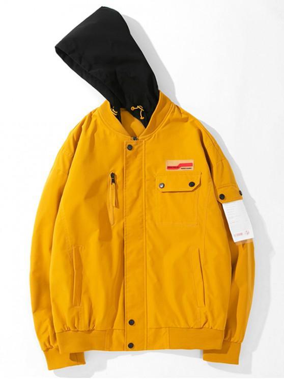 Chaqueta con capucha de bolsillo colorblock - Amarilla de Abeja  M