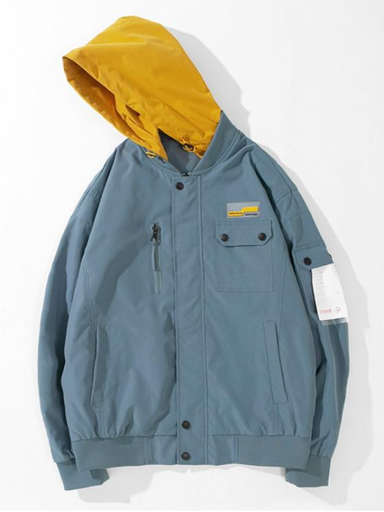 unique Colorblock Pocket Hooded Jacket - BLUE KOI L