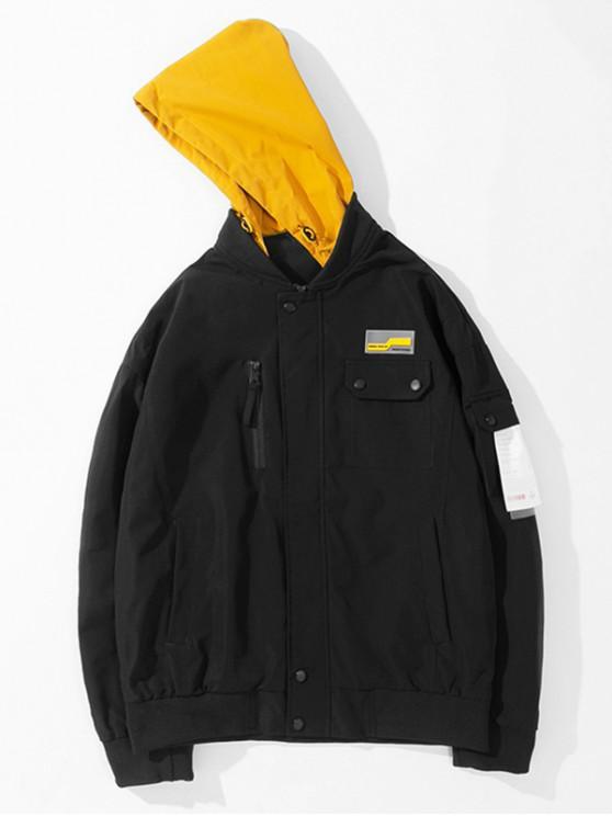 latest Colorblock Pocket Hooded Jacket - BLACK L