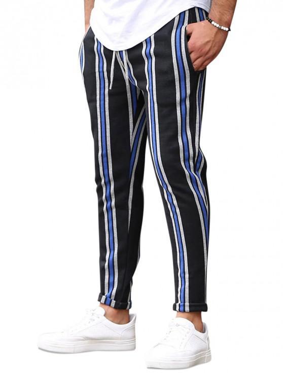women's Vertical Striped Lounge Pencil Pants - BLUE XS