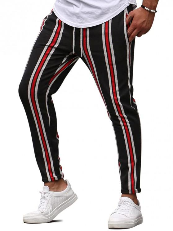 ladies Vertical Striped Lounge Pencil Pants - RED S