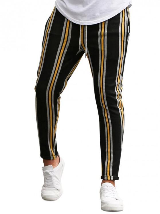 lady Vertical Striped Lounge Pencil Pants - YELLOW XS