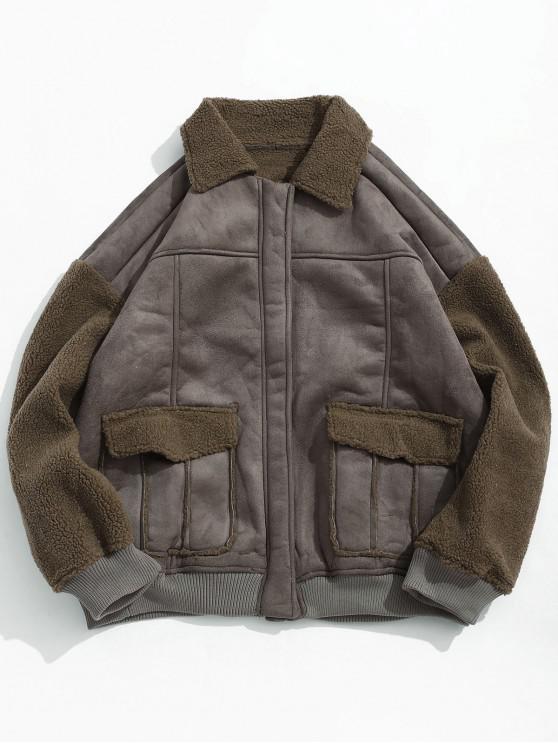 trendy Pocket Decoration Fluffy Long-sleeved Jacket - BROWN BEAR 2XL