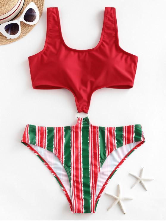 women ZAFUL Striped O Ring Christmas One-piece Swimsuit - RED XL