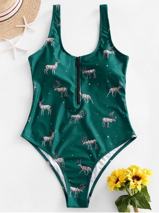 outfit ZAFUL Christmas Half-zip Elk Print One-piece Swimsuit - GREENISH BLUE M
