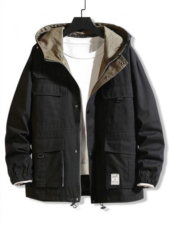 buy Solid Color Pocket Design Cargo Jacket - BLACK M