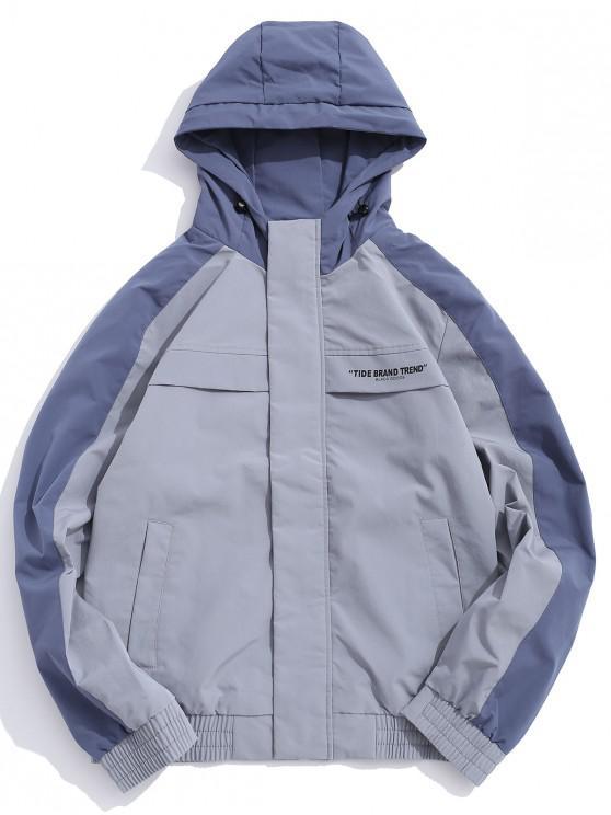 best Letter Print Color Blocking Splicing Hooded Jacket - BLUE GRAY M