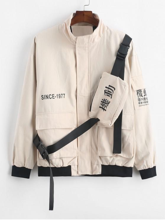 Carta Gráfica de la chaqueta de la aleta de bolsillo de la correa de bolsa de carga - Caqui XS