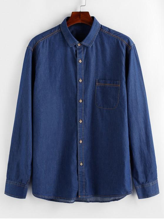 ladies ZAFUL Button Up Pocket Denim Shirt - BLUE L