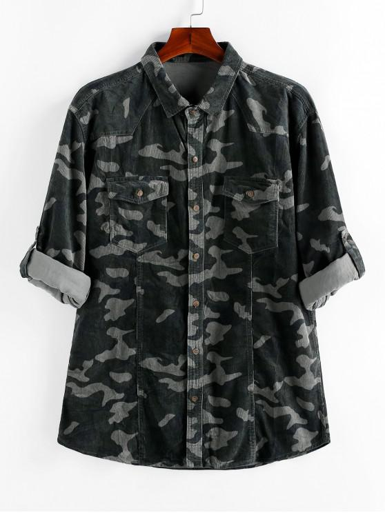 shops ZAFUL Camouflage Print Button Up Pocket Corduroy Shirt - MULTI S