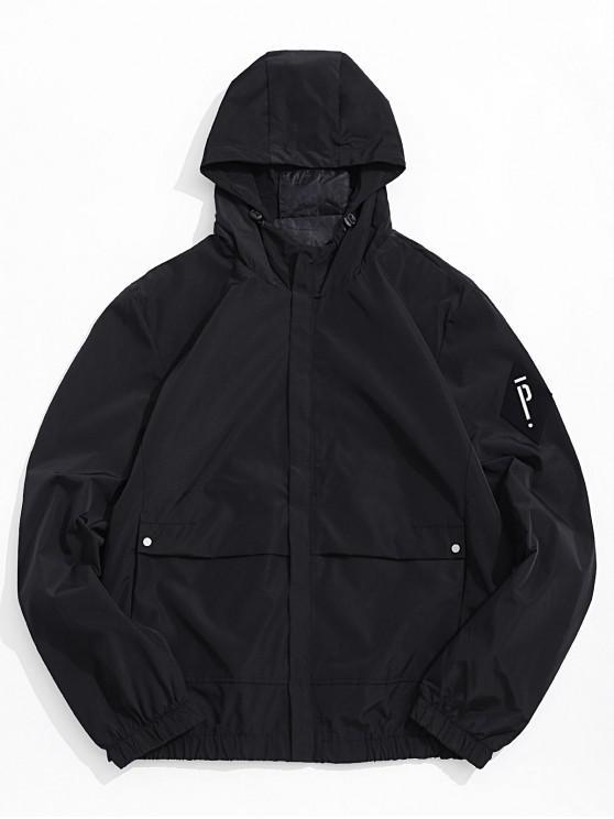 latest Solid Letter Applique Zip Up Hooded Jacket - BLACK M