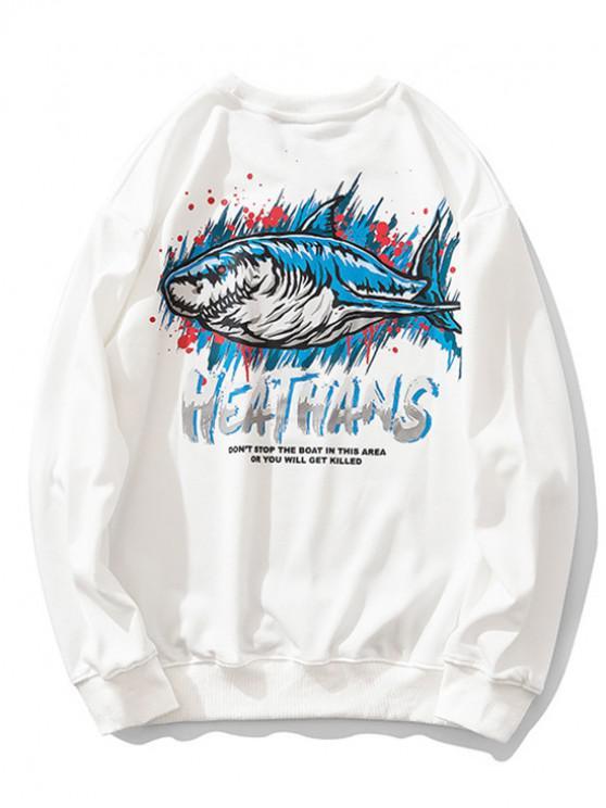 fashion Shark Painting Letter Print Graphic Sweatshirt - WHITE 2XL