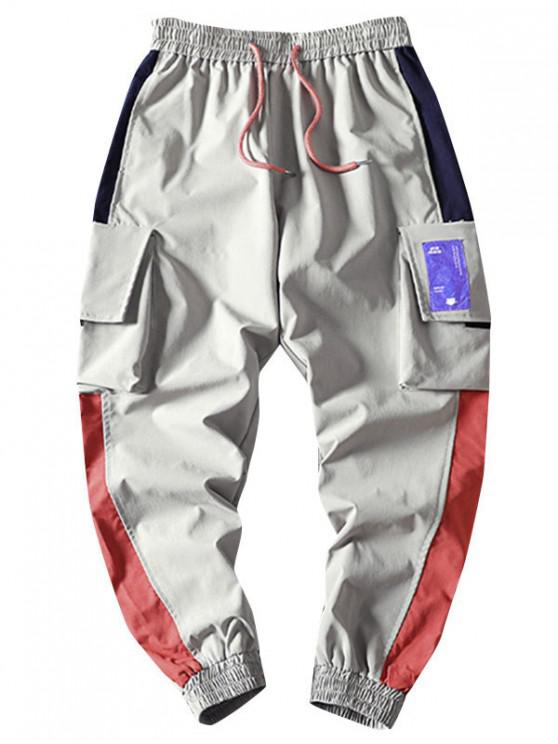 latest Pocket Decorated Color Spliced Casual Pants - GRAY L