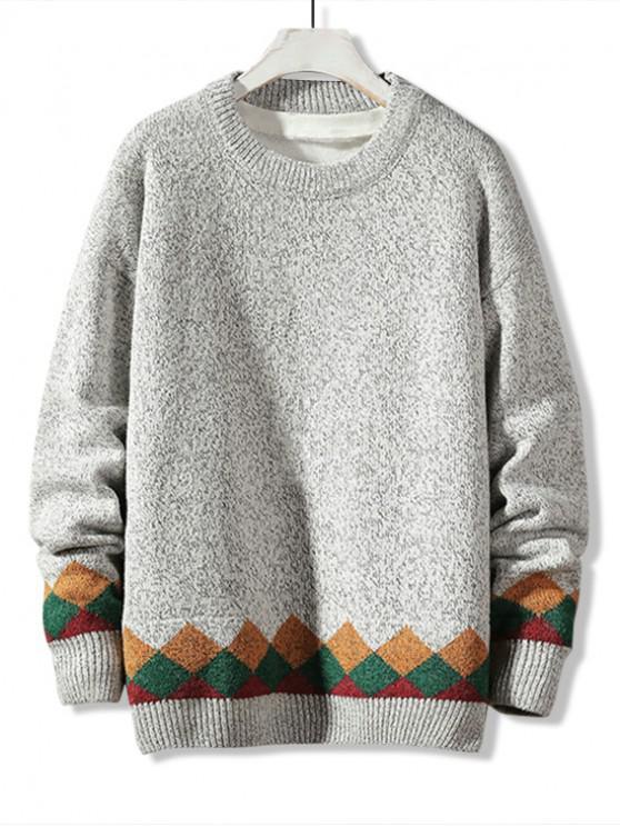 Casual Modelo geométrico del suéter del suéter - Gris Claro L