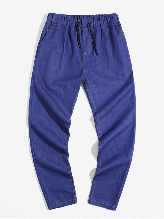 chic Solid Color Elastic Drawstring Jean Pencil Pants - DENIM DARK BLUE XL