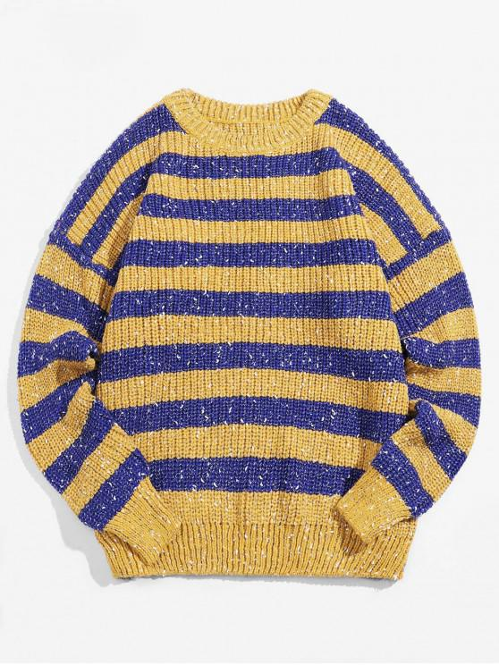 chic Color Blocking Stripes Drop Shoulder Pullover Sweater - YELLOW XL