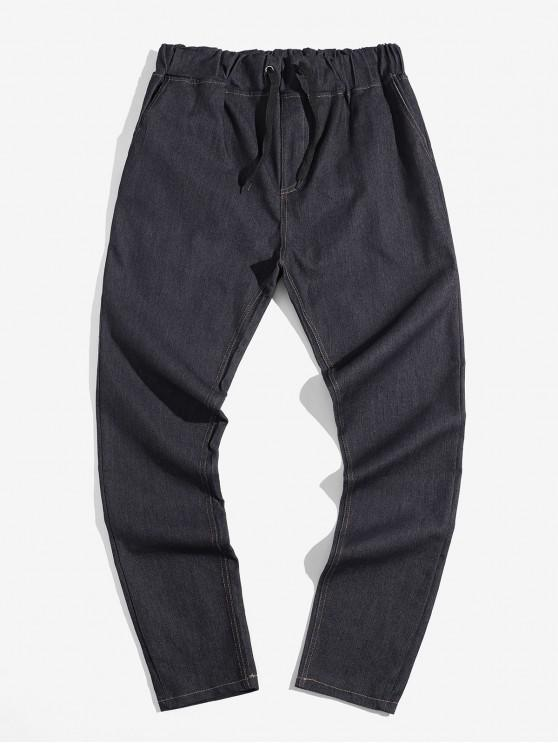 womens Solid Color Elastic Drawstring Jean Pencil Pants - NATURAL BLACK M