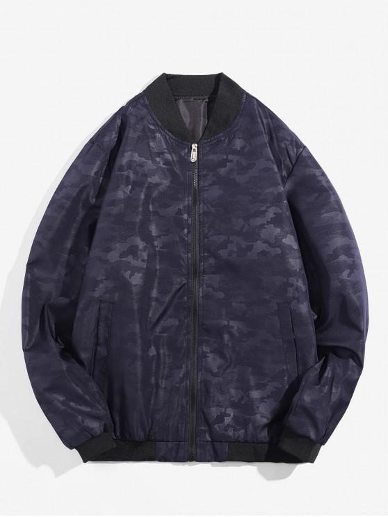 fashion Camouflage Design Zip Up Jacket - CADETBLUE XS
