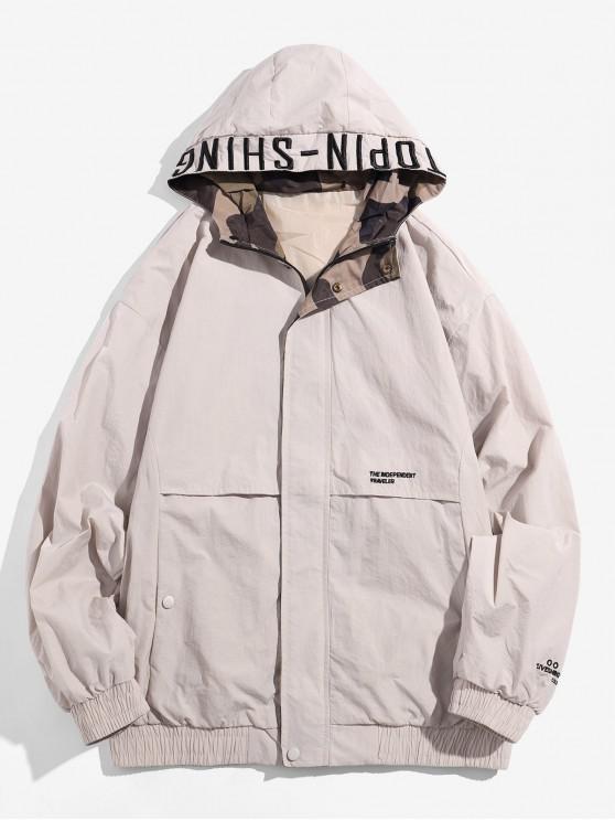 affordable Hooded Zip Up Windbreaker Jacket - LIGHT KHAKI L