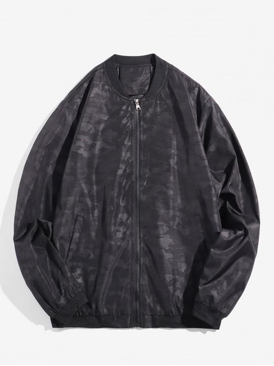 best Camouflage Design Zip Up Jacket - BLACK XS