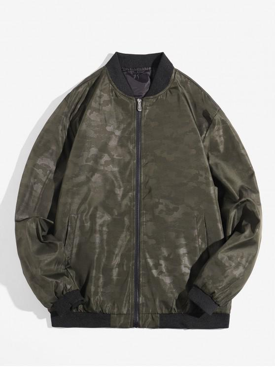 sale Camouflage Design Zip Up Jacket - ARMY GREEN XS