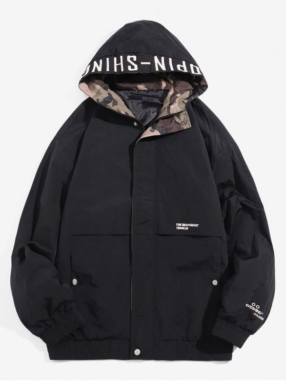buy Hooded Zip Up Windbreaker Jacket - BLACK 3XL