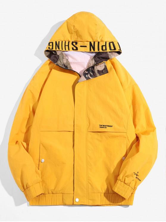 fancy Hooded Zip Up Windbreaker Jacket - YELLOW 4XL