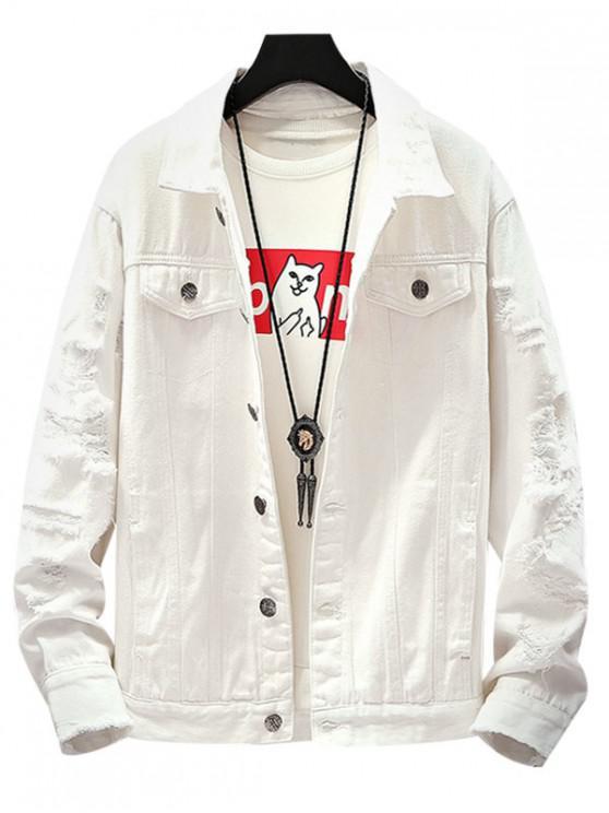 womens Destroyed Pockets Jacket - WHITE XS