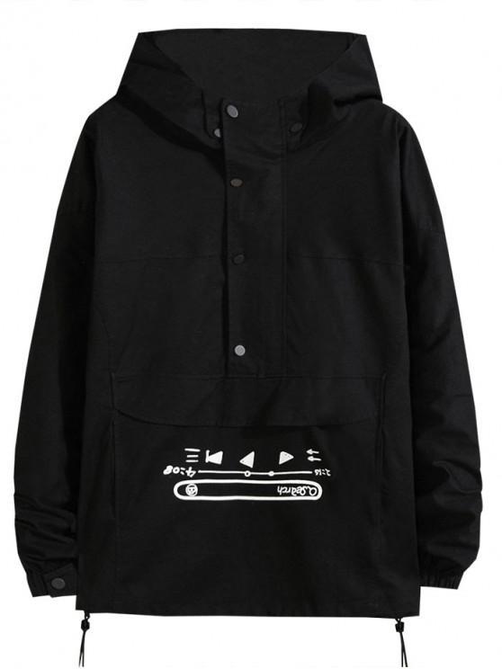 best Hiphop Letter Graphic Half Zip Pullover Hooded Jacket - BLACK S