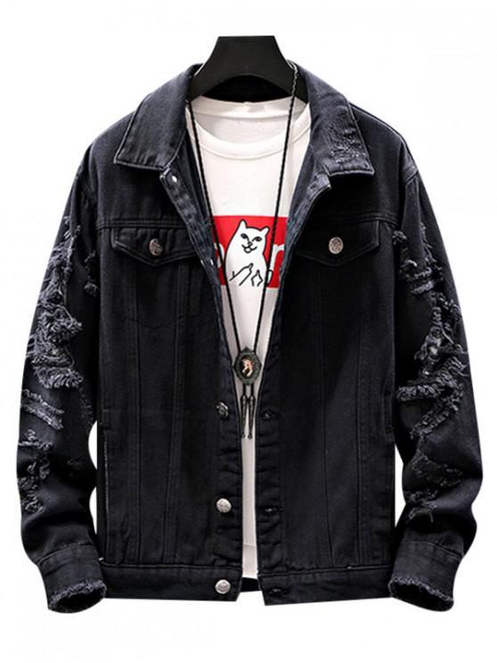 trendy Destroyed Pockets Jacket - BLACK M
