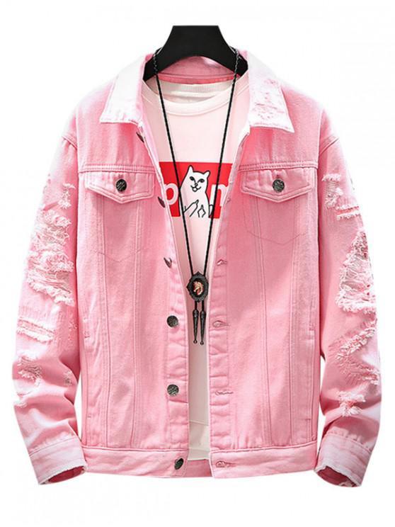affordable Destroyed Pockets Jacket - PINK L