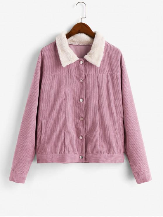 chic Corduroy Single Breasted Pocket Jacket - PINK M