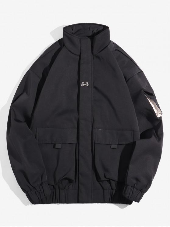 women's Zip Up Pocket Patched Splicing Jacket - LIGHT KHAKI S