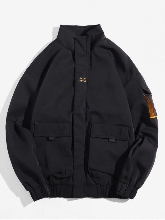 womens Zip Up Pocket Patched Splicing Jacket - BLACK L