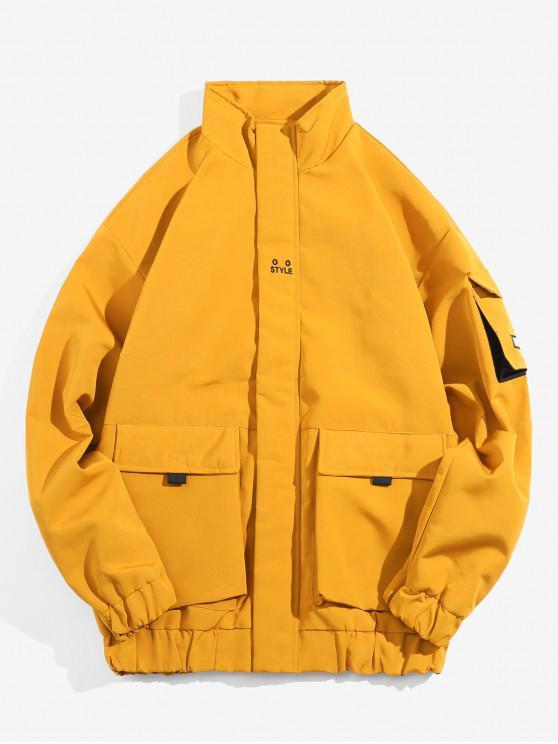 Zip Up bolsillo de la chaqueta remendada de empalme - Amarillo L