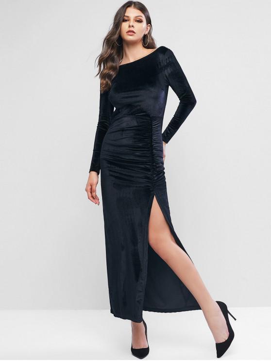 天鵝絨露背縫褶長裙 - 黑色 M