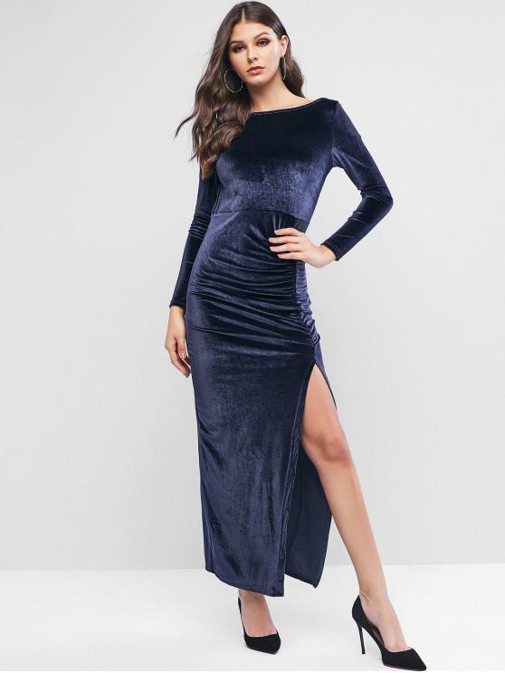 trendy Velvet Backless Slit Draped Maxi Dress - DEEP BLUE S
