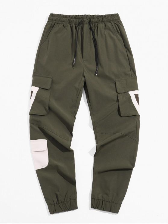 womens Pocket Decoration Letter Print Cargo Pants - ARMY GREEN M
