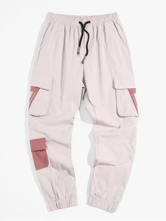 chic Pocket Decoration Letter Print Cargo Pants - LIGHT GRAY L