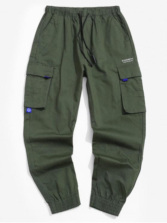 سروال جيب مزين رسالة مطبوعة للشحن - الجيش الأخضر S