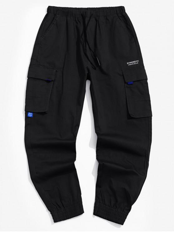 Pantalones bolsillo decorado de la letra impresa de Carga - Negro S