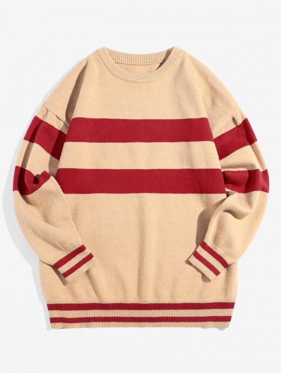 women Letter Graphic Colorblock Stripes Pullover Sweater - KHAKI XS