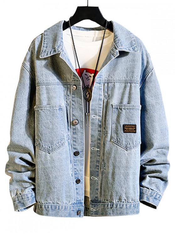 shop Chest Pocket Stitching Applique Jean Jacket - LIGHT BLUE XL