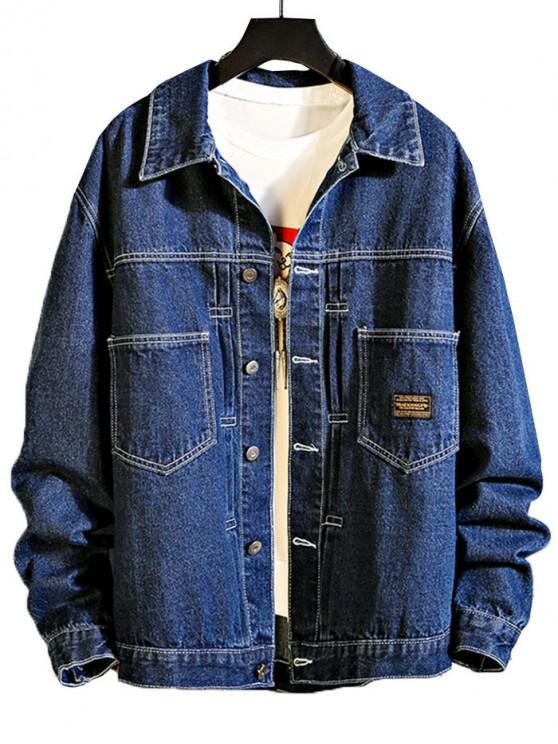 women's Chest Pocket Stitching Applique Jean Jacket - DEEP BLUE L