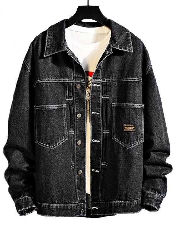lady Chest Pocket Stitching Applique Jean Jacket - BLACK 3XL