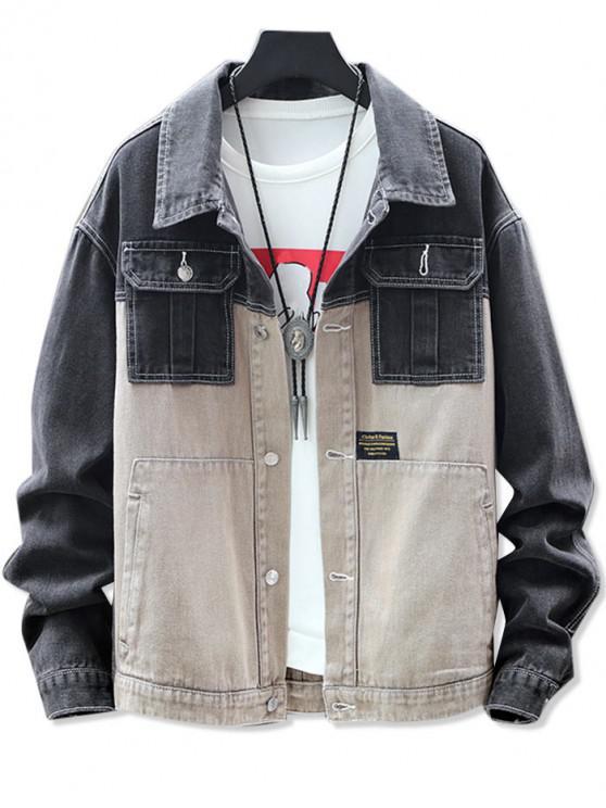 affordable Splicing Pocket Denim Jacket - BLACK M