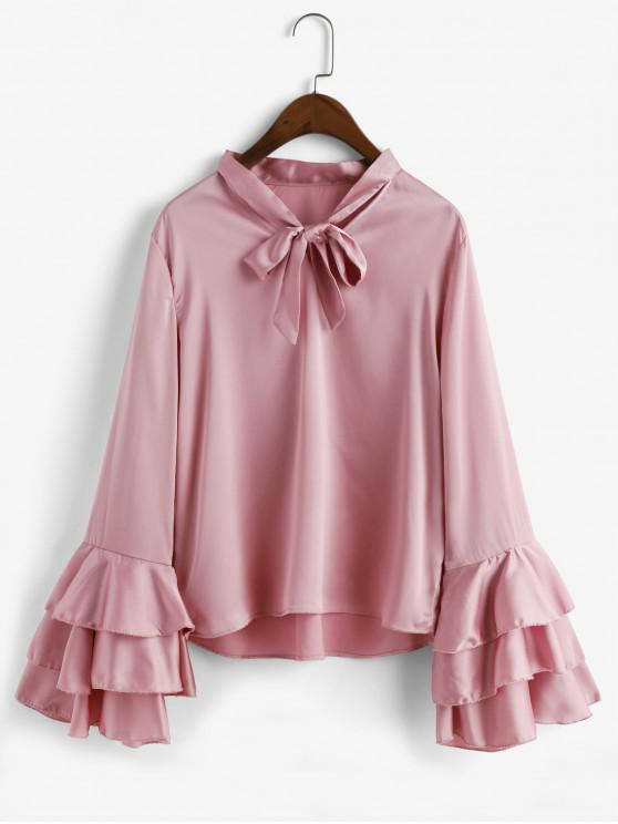 latest ZAFUL Solid Bow Tie Layered Flare Sleeve Blouse - PINK S